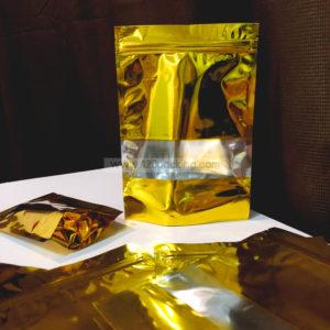 ถุงซิปล็อค ถุงฟอยด์ สีทอง มีหน้าต่าง ตั้งได้