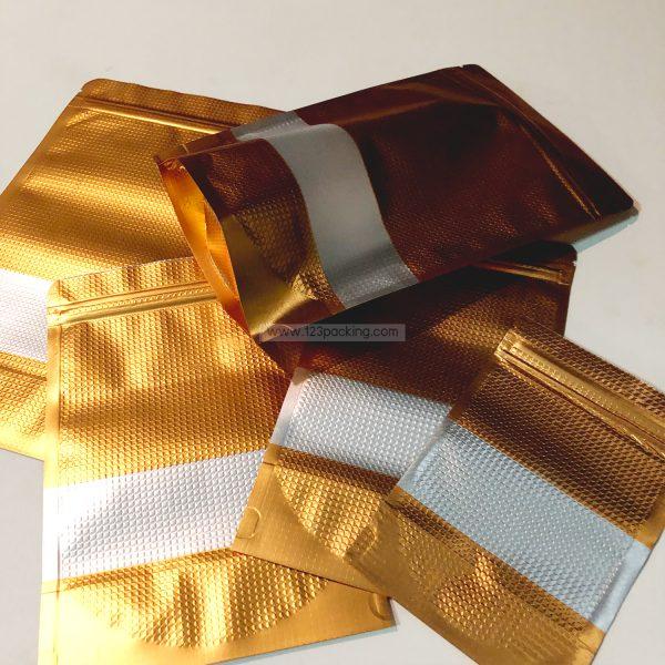 ถุงซิปล็อค สีทอง ลายนูน ตั้งได้