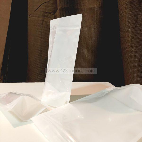 ถุงซิปล็อค ถุงพลาสติก หน้าใส หลังขาว ตั้งได้