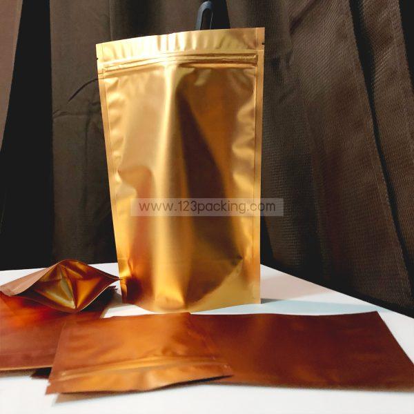ถุงซิปล็อค ถุงฟอยด์ ทึบ สีทอง ตั้งได้