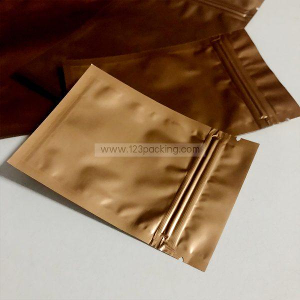 ถุงซิปก้นแบน ตั้งไม่ได้ สีทองด้าน